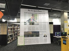 AR 'Fake News' installation, in library