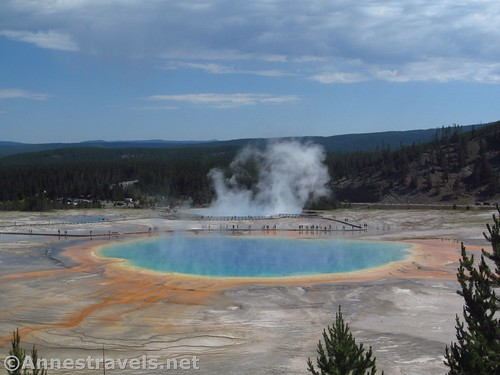 Views of the Grand Prismatic Spring from the overlook in Yellowstone National Park, Wyoming