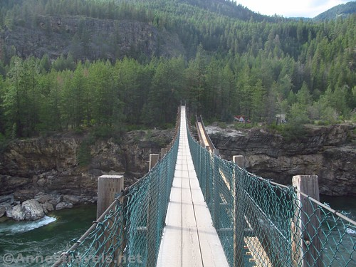 Both the old and the new swinging bridges at Kootenai County Park, Montana