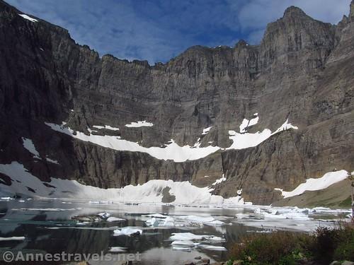 Iceberg Lake below the cliffs of Iceberg Peak, Glacier National Park, Montana
