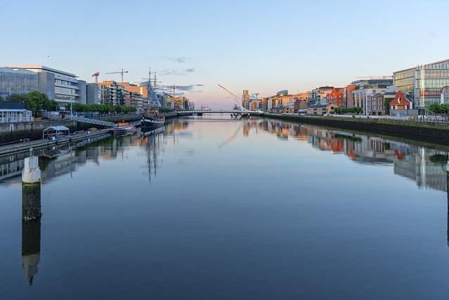 S/S Jeanie Johnston in front of the Samuel Beckett Bridge, Dublin, Ireland