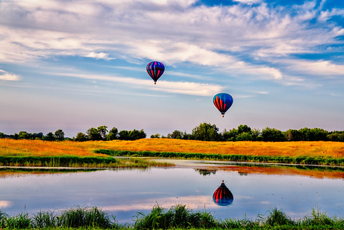 minnesota stillwater withrow ballooning hotairballoon hotairballoons pond trees wetland unitedstatesofamerica