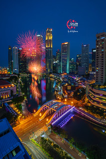 1st NDP Fireworks display at Singapore River , 3 Aug 2019
