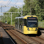 22nd July 2019. Manchester Metrolink Tram No. 3040 at Timperley, Cheshire