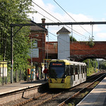 22nd July 2019. Manchester Metrolink Tram No. 3040 at Timperley, Cheshire.