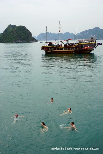 Tourists Swimming at Halong Bay