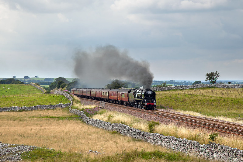 No.35018 'British India Line' returns a Cumbrian Mountain Express past Waitby Common.