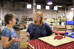Rep. Haines toured Bevin Brothers Manufacturing Co. with Cici Bevin to learn more about their business.