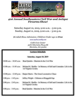 Speaker schedule during the 41st Annual North Georgia Civil War and Antique Firearms Show next weekend at the Cobb Civic Center. #civilwar