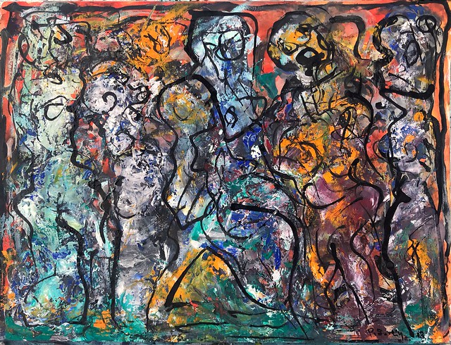 The Artists Party on the night of 2 August #bottegheaperte #botteghe #artcenter# #Pietrasanta #versilia #painting #mixedmedia #peterseelig