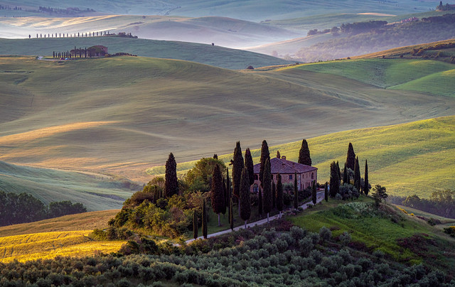 Il Belvedere (Tuscan) Home at Sunrise with Morning Mist