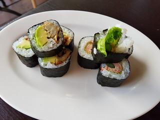 Terichiki Avo and Asparagus Vacon Sushi Rolls at Izakaya Midori