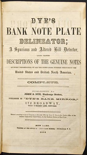 1855 Dye's Bank Note Plate Delineator title page