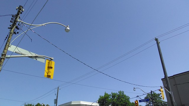 Wires in the sky, Dupont east at Dovercourt #toronto #summer #dovercourtvillage #blue #summer #sky #wires #dupontstreet #dovercourtroad