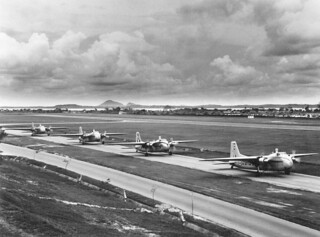 1962 Four RNZAF 41 Sqn Bristol Freighters taxiing, with NZ5909 in the lead, at RAF Station Changi, Singapore, 21 Oct 1962