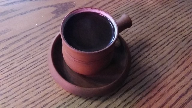 Armenian coffee in clay mug #toronto #queenwest #antikka #coffee #armeniancoffee #clay