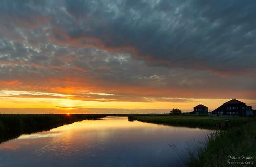 sunset sky cloud reflection water netherlands field grass landscape outdoor watercourse waterland waterscape ilpendam nikon cloudy ilperveld d7500