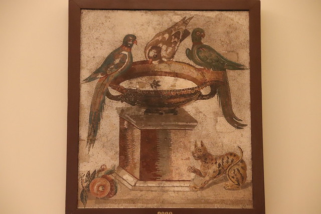 Roman Mosaic: Parrots drinking at the fountain, from Capua Vetere