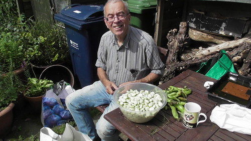 Shelling broad beans Aug 19