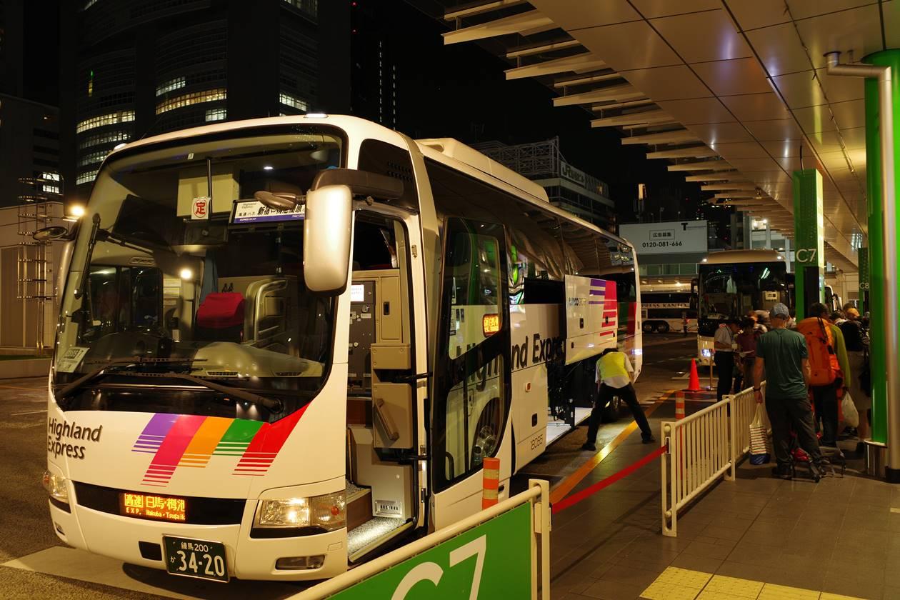 バスタ新宿から栂池高原行き夜行バス