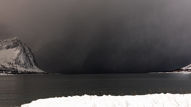 Snow storm coming from the sea