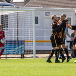 Thoirs is congratulated by team mates after his equaliser