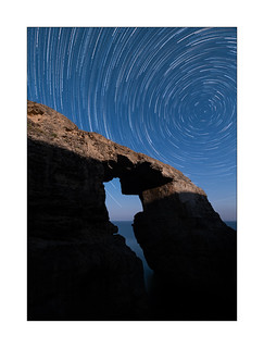 Moonlight over Wied Il-Mielah Arch, Gozo, Malta