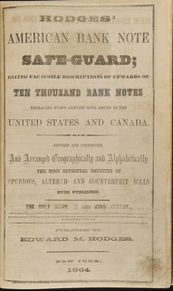 Hodges' 1864 American Bank Note Safe-Guard title page