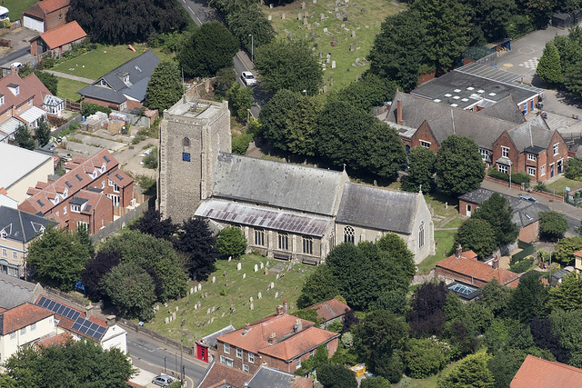 St Mary's church in Stalham - Norfolk UK aerial image