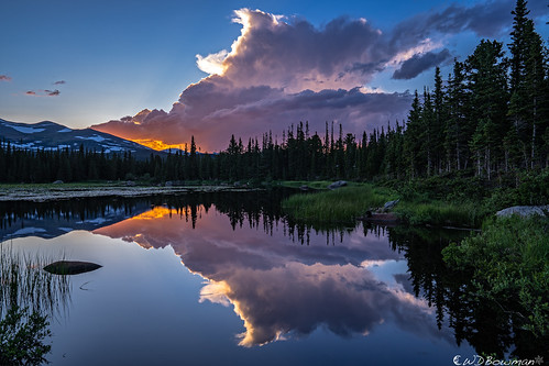 sunset redrocklake reflection thunderstorm mountaudubon engelmannspruce