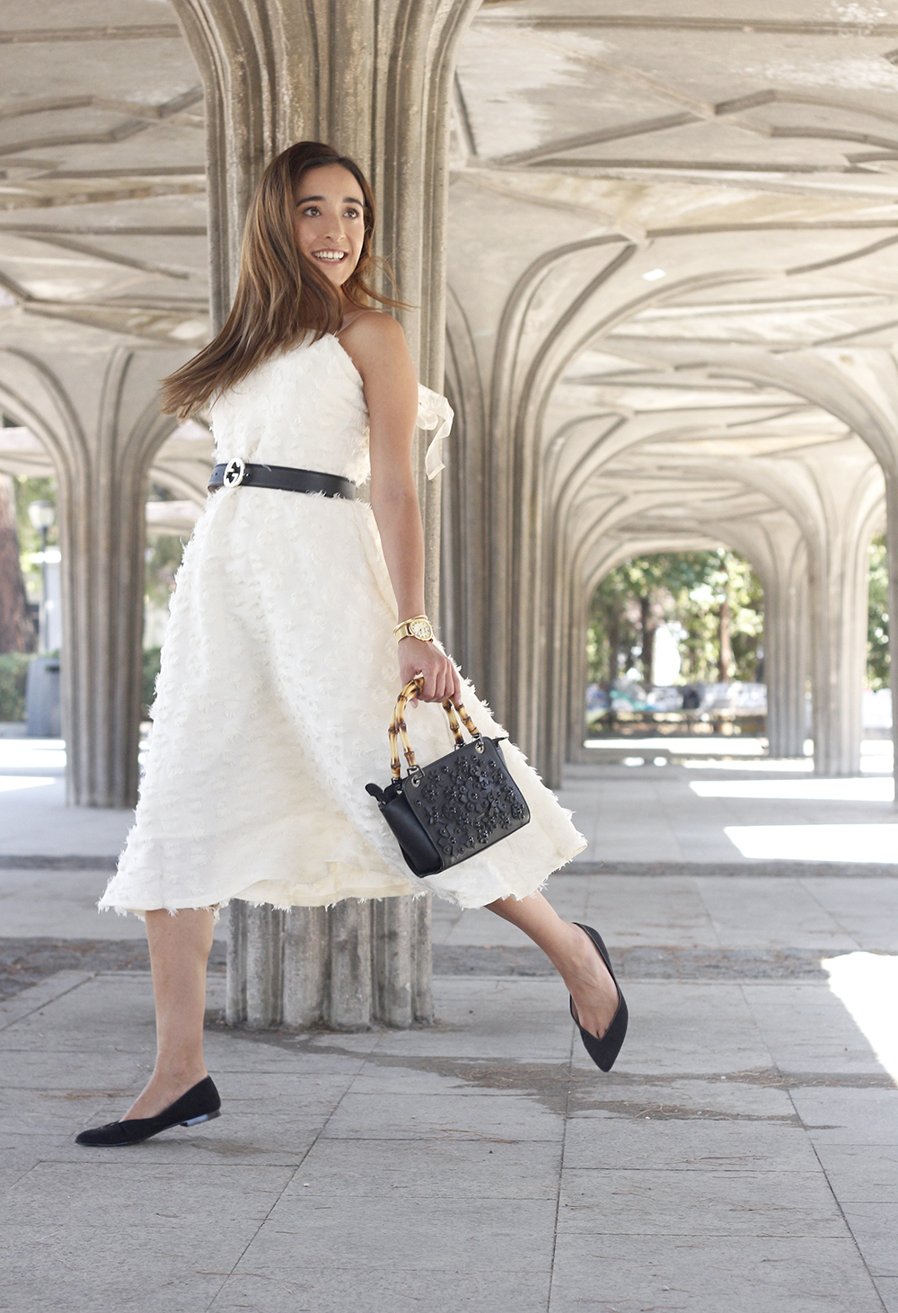 white midi dress gucci belt street style outfit 201911