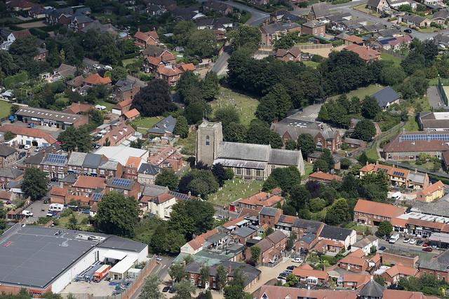 Stalham church in Norfolk - aerial image