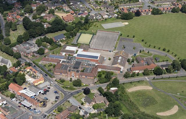 Aerial view of Stalham High School in Norfolk UK