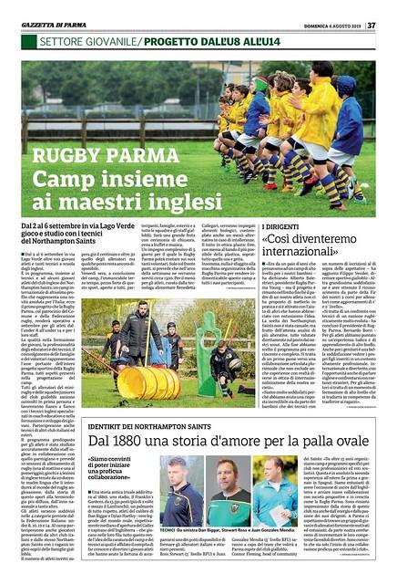 Gazzetta di Parma 04.08.19 - International Rugby Camp