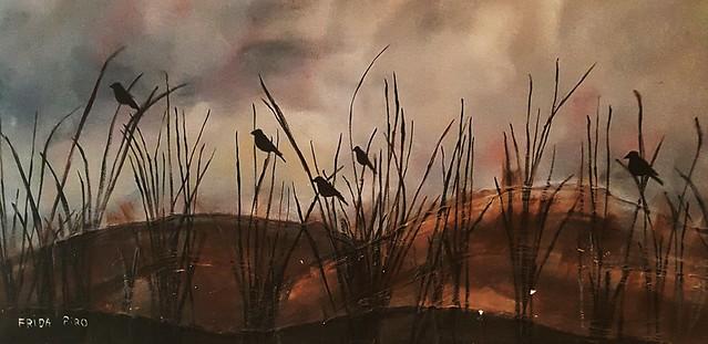 טבע דומם ציורי נוף נוספים סתיו ציפורים פרידה  פירו  ציירת  ישראלית  ריאליסטית  ירושלמית  עכשווית  Frida  piro  painter  artist