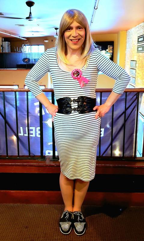 Past-the-knee knit dress & birthday ribbon