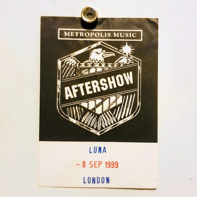 Luna aftershow pass - London 1999