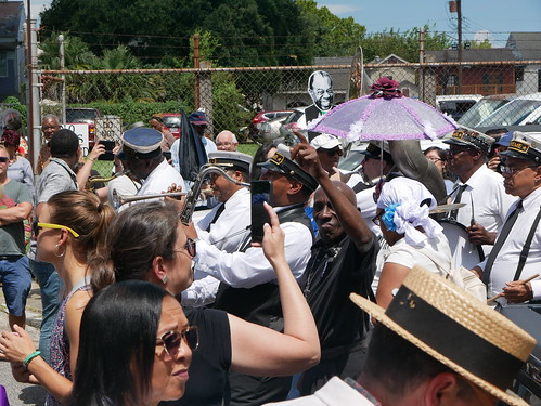 On Henriette Delille, outside the Backstreet Cultural Museum as the parade passes by for Satchmo Salute Parade at Satchmo Summer Fest - August 4, 2019. Photo by Louis Crispino.