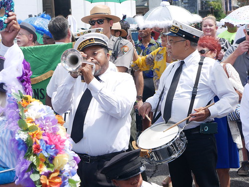 Treme Brass Band in the second line parade for Satchmo Salute Parade at Satchmo Summer Fest - August 4, 2019. Photo by Louis Crispino.