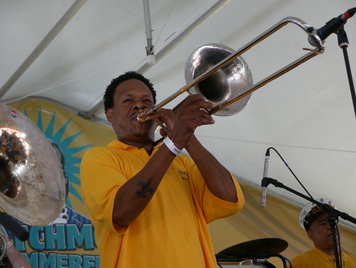 Corey Henry with Treme Brass Band at Satchmo Summer Fest 2019. Photo by Louis Crispino.