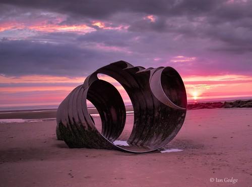 england uk britain marys shell beach sea seaside cleveleys lancashire sculpture sunset