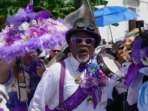 Spy Boy Ricky at the Satchmo Salute second line parade for Satchmo Salute Parade at Satchmo Summer Fest - August 4, 2019. Photo by Louis Crispino.