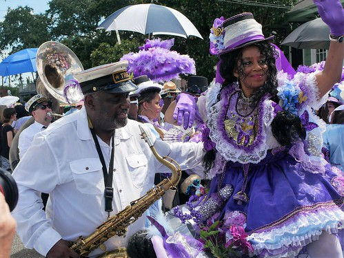 Treme Brass Band and Treme Million Dollar Baby Dolls in the Satchmo Salute Parade for Satchmo Summer Fest on August 4, 2019. Photo by Louis Crispino.
