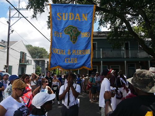 Sudan in the second line parade for Satchmo Salute Parade at Satchmo Summer Fest - August 4, 2019. Photo by Louis Crispino.