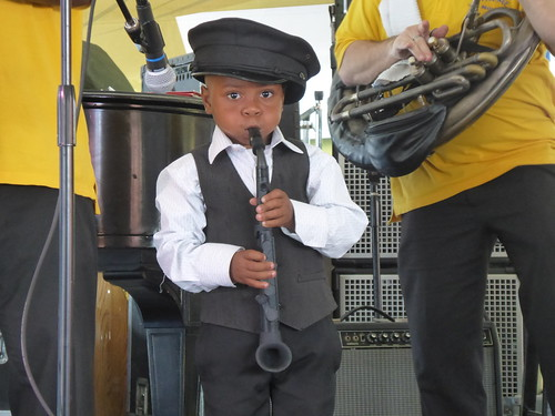 Little guy with Treme Brass Band at Satchmo Summer Fest 2019. Photo by Louis Crispino.