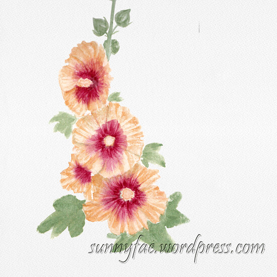 hollyhock watercolour painting