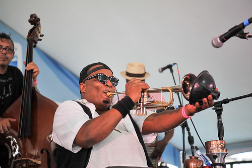 WWOZ sunglasses! Palmetto Bug Stompers at Satchmo Summer Fest 2019. Photo by Michael E. McAndrew.