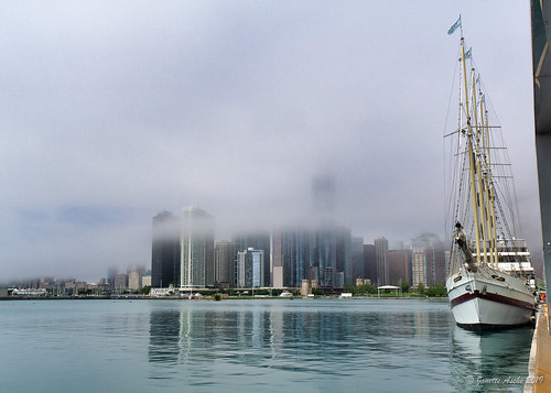 Tall ship, Windy, and fog lifting, Chicago