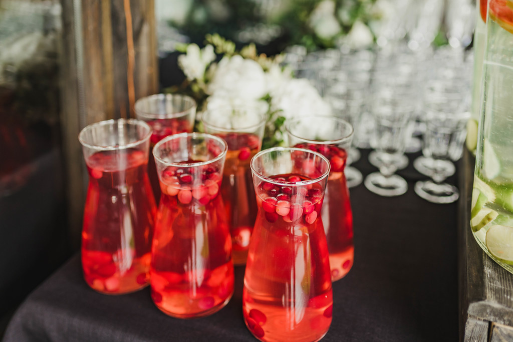 Berry Juice Water On Formal Table