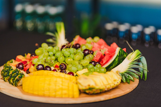 Fruit Plate Of Grapes, Watermelon, Pineaples and Cherries
